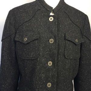 S5A Saks Fifth Avenue black tweed blazer coat